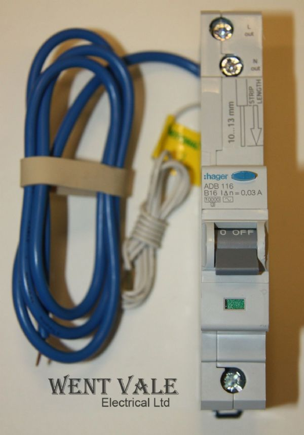 Hager ADB116 - 16a 30mA Type B Single Pole RCBO Un-used